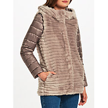 Buy Marella Willy Faux Fur Quilted Coat, Light Grey Online at johnlewis.com