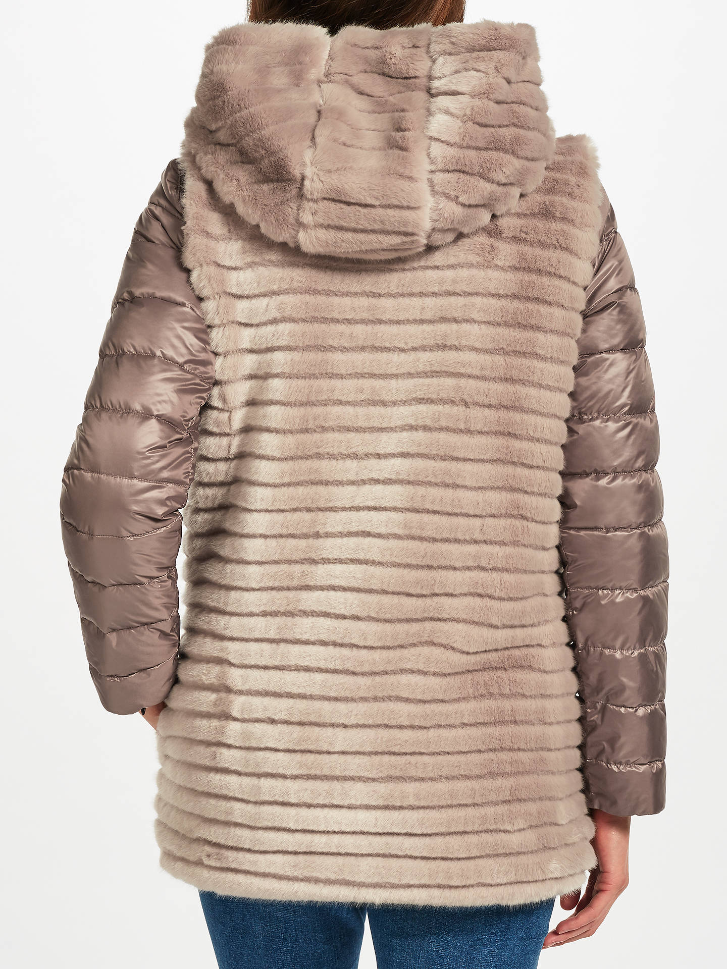 Marella Willy Faux Fur Quilted Coat, Light Grey at John