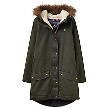 Buy Little Joule Girls' Faux Fur Parka, Everglade Online at johnlewis.com