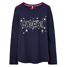 Buy Little Joule Girls' Ta Da Print T-Shirt, French Navy Online at johnlewis.com
