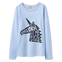 Buy Little Joule Girls' Unicorn Long Sleeve T-Shirt, Blue Online at johnlewis.com