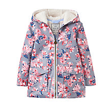 Buy Little Joule Girls' Fleece Lined Waterproof Coat, Soft Grey Online at johnlewis.com
