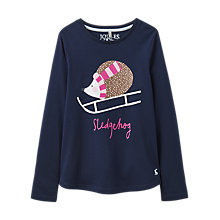 Buy Little Joule Girls' Hedgehog Long Sleeve T-Shirt, French Navy Online at johnlewis.com
