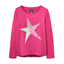 Buy Little Joule Girls' Sequin Star T-Shirt, Fuschia Pink Online at johnlewis.com