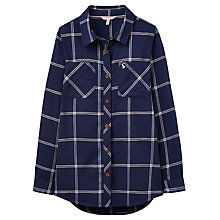 Buy Little Joule Girls' Checked Shirt, Navy Online at johnlewis.com