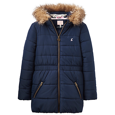 Little Joule Girls' Fleece Lined Waterproof Coat, French Navy