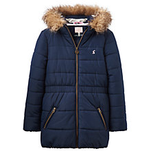 Buy Little Joule Girls' Fleece Lined Coat, French Navy Online at johnlewis.com