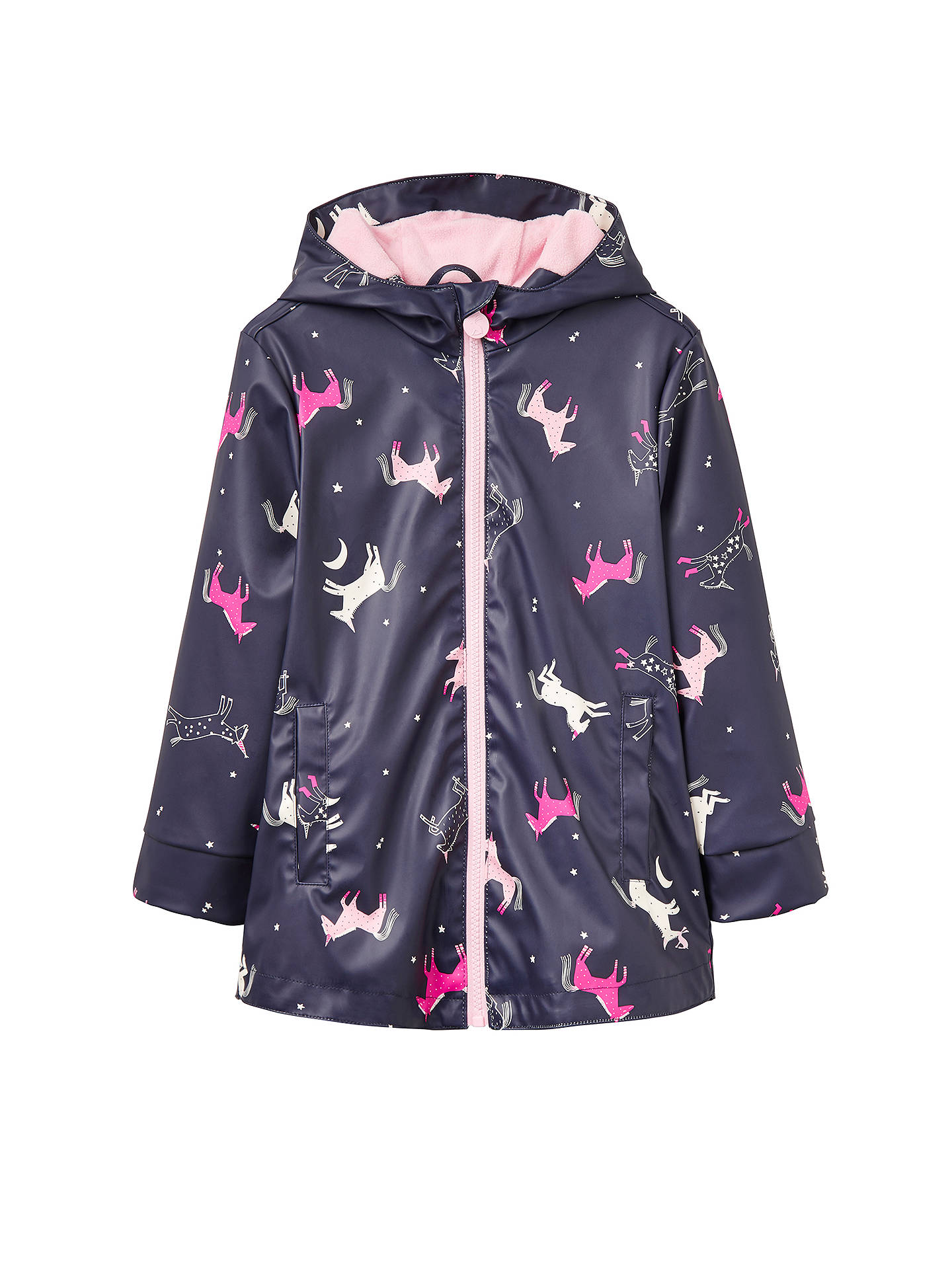 Little Joule Girls Unicorn Rubber Coat French Navy At