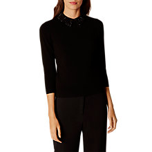 Buy Karen Millen Crystal Collar Jumper, Black Online at johnlewis.com