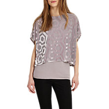 Buy Phase Eight Valerie Velvet Top, Gris Online at johnlewis.com
