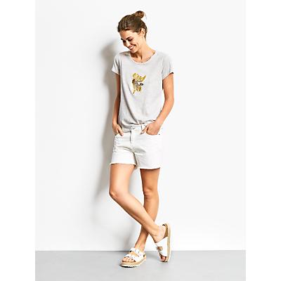 hush Frayed Denim Shorts, White