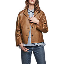Buy Gerard Darel Violet Leather Jacket, Coffee Online at johnlewis.com