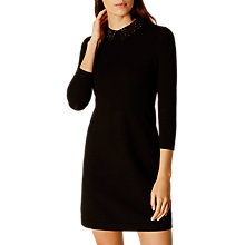Buy Karen Millen Crystal Collar Knit Dress, Black Online at johnlewis.com