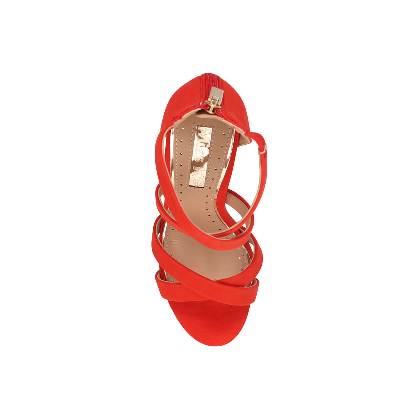 BuyMiss KG Faun Cross Strap Block Heeled Sandals, Red, 3 Online at johnlewis.com