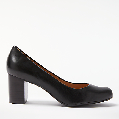 John Lewis Anita Block Heeled Court Shoes, Black Leather