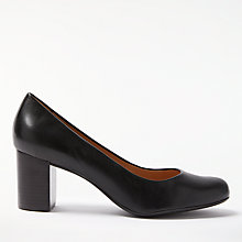 Buy John Lewis Anita Block Heeled Court Shoes, Black Leather Online at johnlewis.com