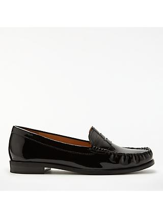 John Lewis & Partners Penny Leather Moccasins, Black Patent Leather