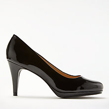 Buy John Lewis Alicia Cone Heeled Court Shoes, Black Patent Leather Online at johnlewis.com