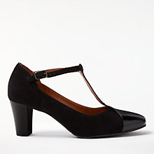 Buy John Lewis Annie T-Bar Court Shoes, Black Suede Online at johnlewis.com
