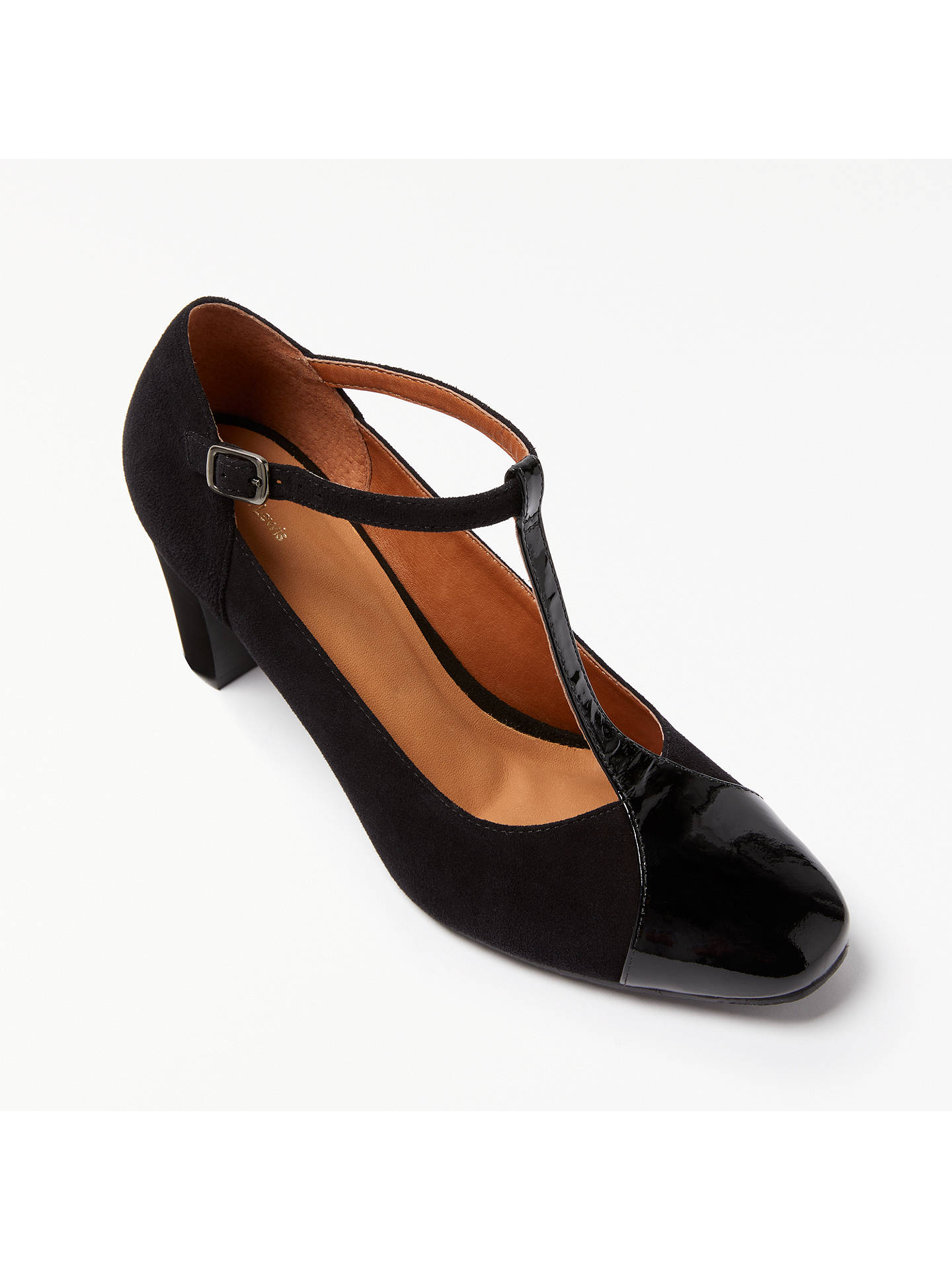 special section buying cheap best place John Lewis Annie T-Bar Court Shoes, Black Suede at John ...