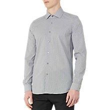 Buy Reiss Tulsa Geometric Print Slim Shirt, Navy Online at johnlewis.com