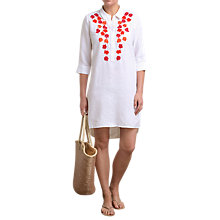 Buy Pure Collection Laundered Linen Embroidered Dress, White Online at johnlewis.com