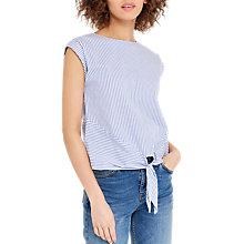 Buy Oasis Ticking Stripe Tie Front T-Shirt, Multi/Blue Online at johnlewis.com