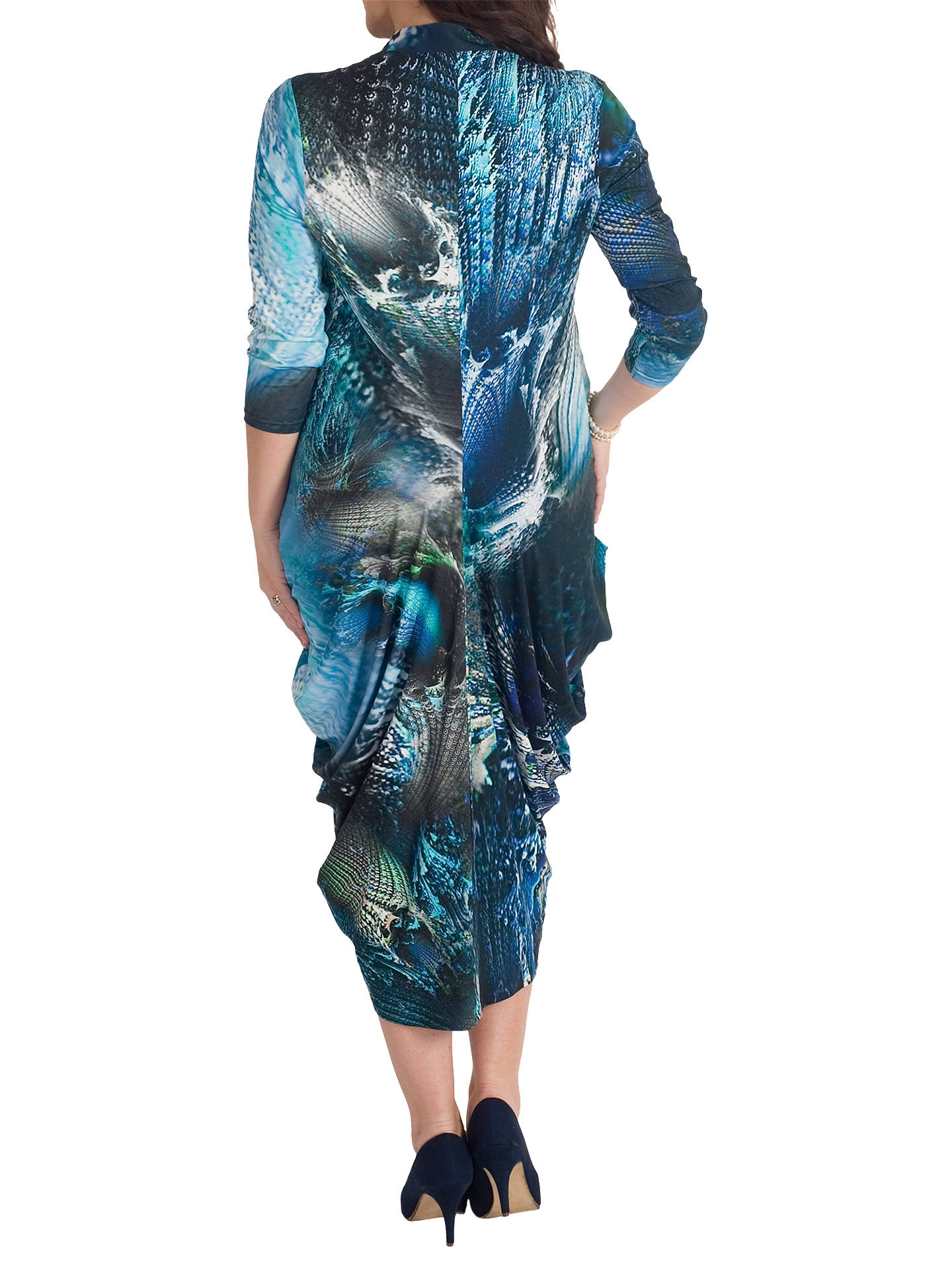 63ab9ade64e ... Buy Chesca Peacock Notch Neck Jersey Dress, Navy/Blue, 20-22 Online ...