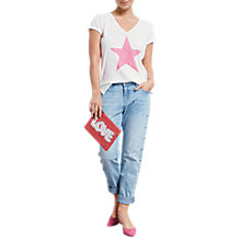 Buy hush Stella Start T-Shirt, White/Fluro Pink Online at johnlewis.com