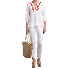 Buy Pure Collection Laundered Linen Embroidered Blouse, White Online at johnlewis.com