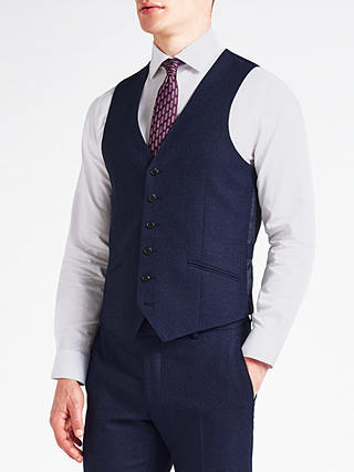 Buy Richard James Mayfair Speckled Wool Flannel Slim Fit Waistcoat, Cobalt Blue, 42R Online at johnlewis.com
