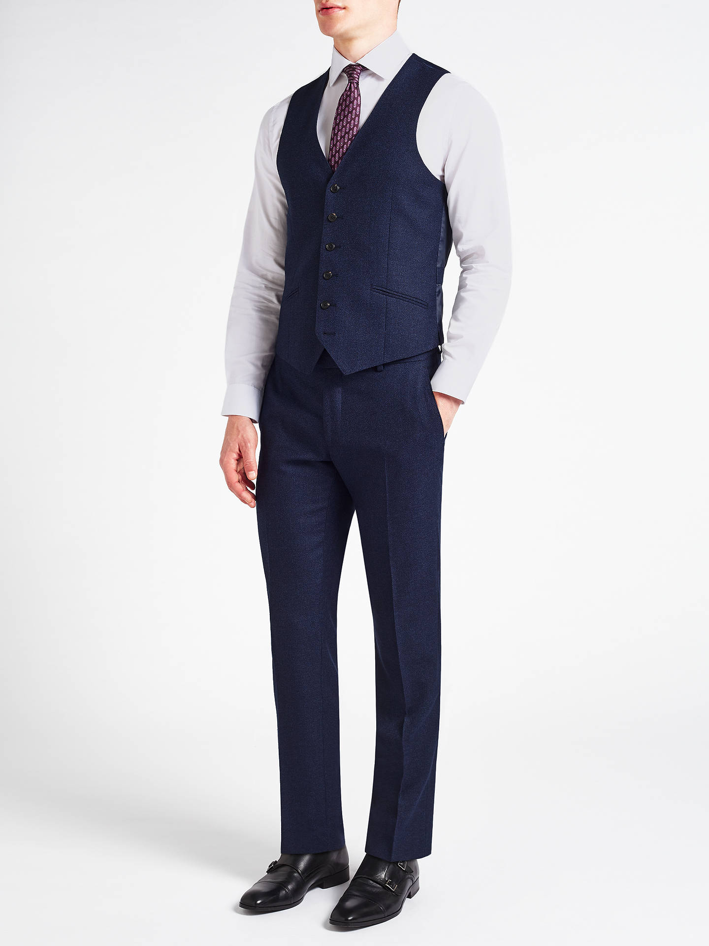 Buy Richard James Mayfair Speckled Wool Flannel Slim Fit Waistcoat, Cobalt Blue, 44R Online at johnlewis.com