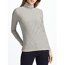 Buy John Lewis Stripe Ribbed Roll Neck Top, Ecru/Black Online at johnlewis.com