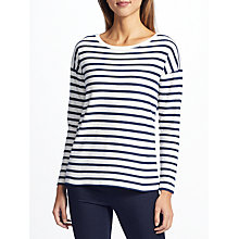 Buy Collection WEEKEND by John Lewis Scallop Stripe Top, Cream/Navy Online at johnlewis.com