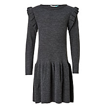 Buy John Lewis Girls' Knit Ruffle Dress, Grey Online at johnlewis.com
