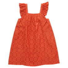 Buy Jigsaw Girls' Spot Jacquard Frill Sleeve Dress, Orange Online at johnlewis.com
