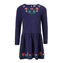 Buy John Lewis Girls' Embroidered Jersey Dress, Medieval Blue Online at johnlewis.com