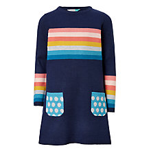 Buy John Lewis Girls' Stripe Knit Dress, Mediaval Blue Online at johnlewis.com