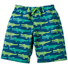 Buy Frugi Organic Boys' Crocodile Rock Board Shorts, Green, 3-4 years Online at johnlewis.com