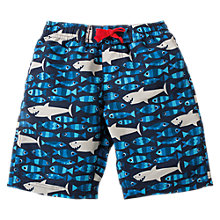 Buy Frugi Organic Boys' Sneaky Shark Board Shorts, Blue Online at johnlewis.com