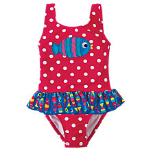 Buy Frugi Organic Baby Spot Fish Little Sally Swimsuit, Raspberry Online at johnlewis.com