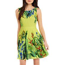 Buy Oasis Tropical Placement Print Dress, Mid Yellow Online at johnlewis.com