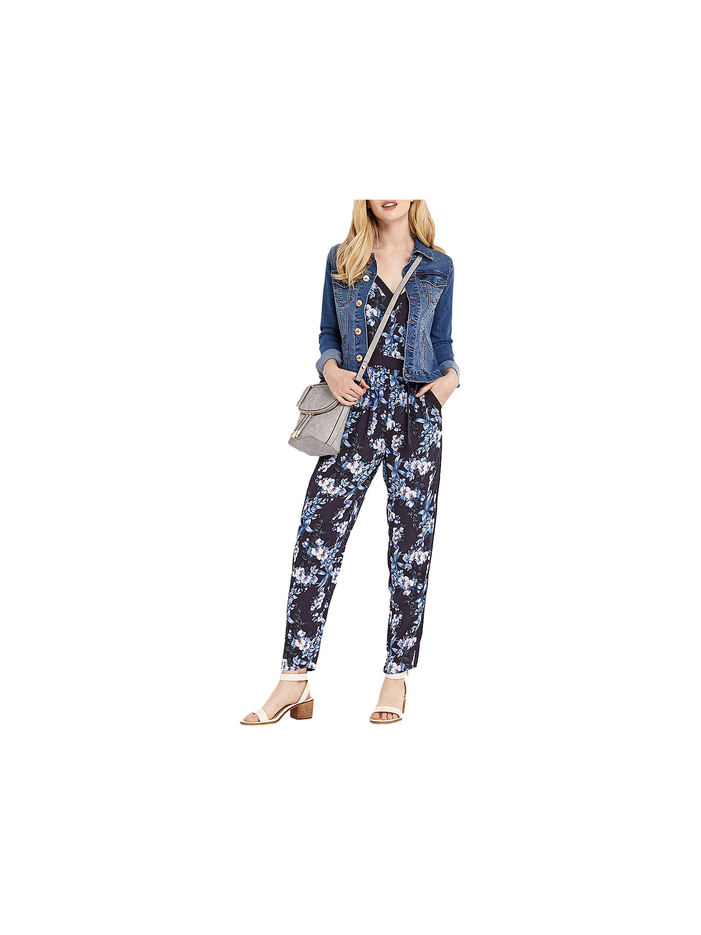 6c008881c2ac Buy Oasis Tropical Botanical Print Jumpsuit, Blue/Multi, 8 Online at  johnlewis.