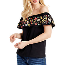 Buy Oasis Embroidered Bardot Top, Multi/Black Online at johnlewis.com