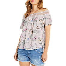 Buy Oasis Floral Chintz Lace Trim Bardot Top, Multi Online at johnlewis.com