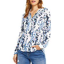 Buy Oasis Tropical Botanical Print Pintuck Shirt, Natural/Multi Online at johnlewis.com