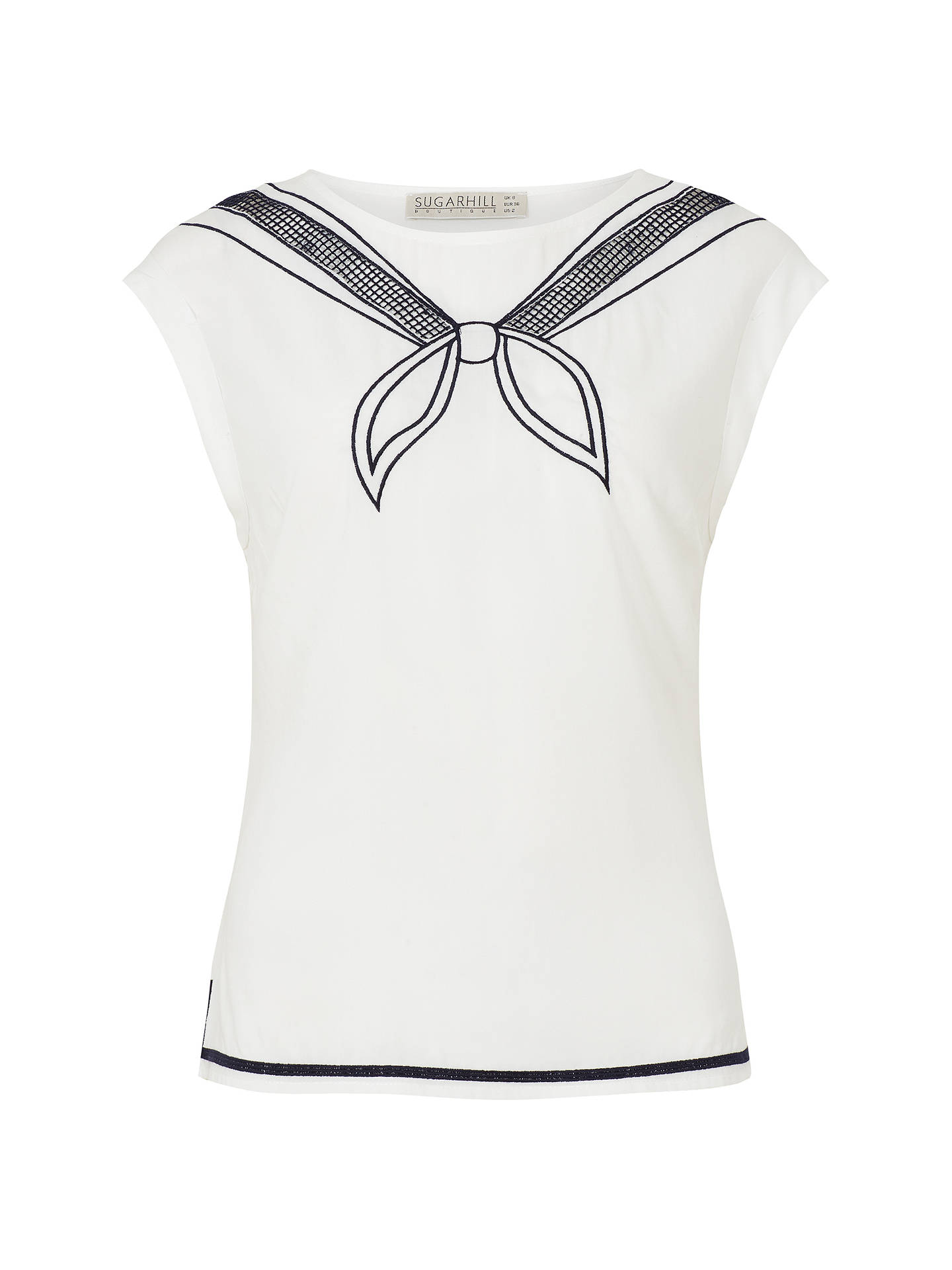Buy Sugarhill Brighton Ahoy Embroidered Top, White, 8 Online at johnlewis.com