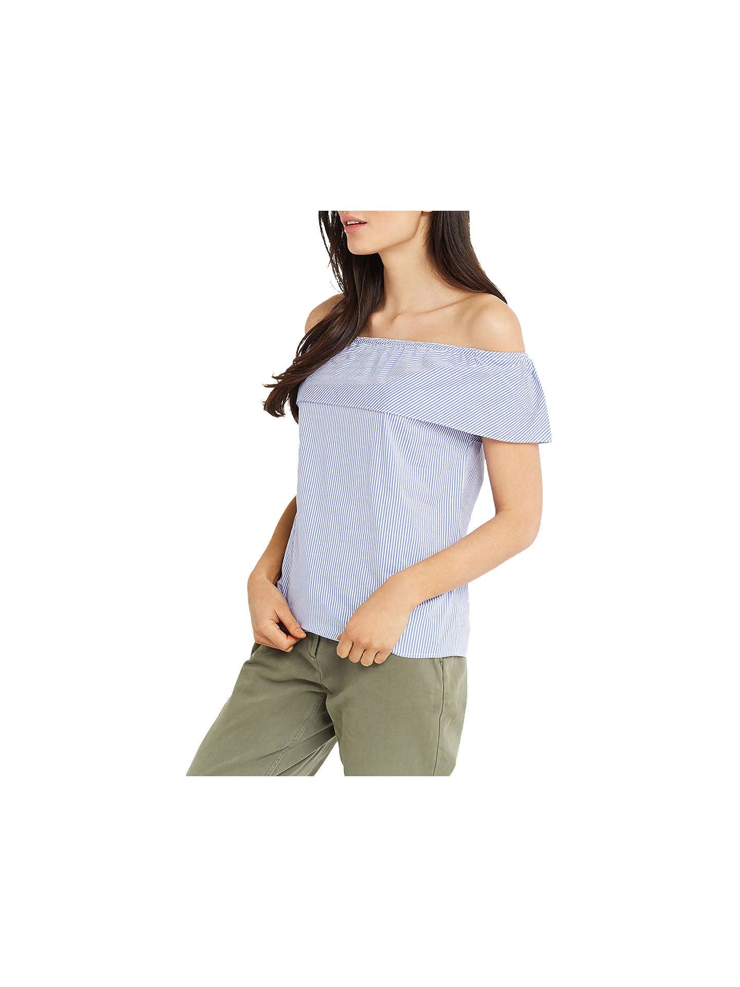 4fdcbc7f0ef Buy Oasis Stripe Bardot Top, Blue/Multi, 8 Online at johnlewis.com ...