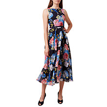 Buy Hobbs Carly Floral Print Midi Dress, Navy/Multi Online at johnlewis.com