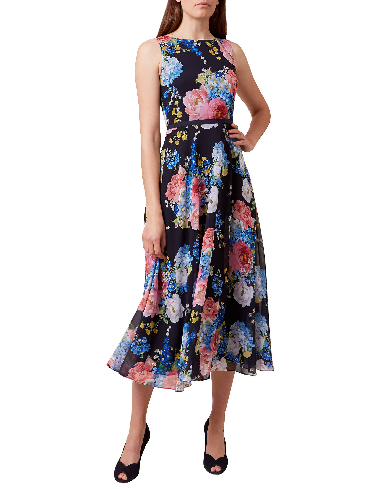 Hobbs Carly Floral Print Midi Dress Navy Multi At John